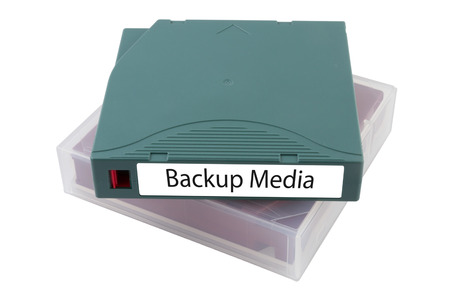 video cassette tape: Backup tape for data recovery in server room isolated on white background