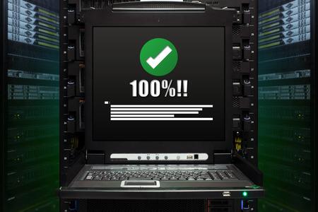 100percent message show on the server computer display in the modern interior of data center. Super Computer, Server Room. Standard-Bild
