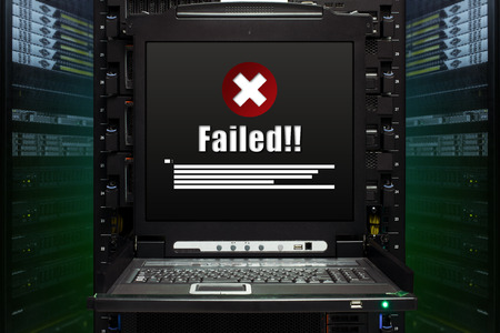 Failed message show on the server computer display in the modern interior of data center. Super Computer, Server Room.