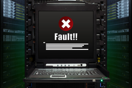 Fault message show on the server computer display in the modern interior of data center. Super Computer, Server Room.
