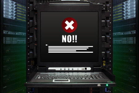 No. message show on the server computer display in the modern interior of data center. Super Computer, Server Room. photo