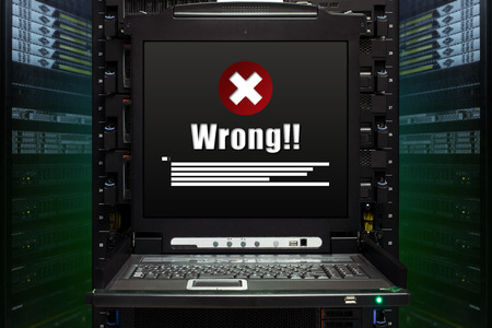 Wrong message show on the server computer display in the modern interior of data center. Super Computer, Server Room. Standard-Bild