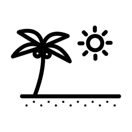 Palm tree on beach vector icon
