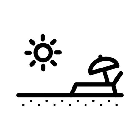 Beach bed vector icon Illusztráció