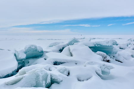 The ice hummock on Lake Balkhash. An ice hummock is an ice-field. Stock Photo