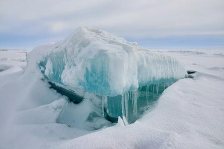 The ice hummock on Lake Balkhash. An ice hummock is an ice-field. Stock Photo