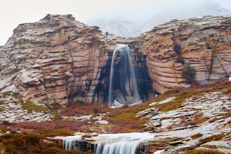 The waterfall on the mountain Bektau ata. Bektau Ata - a mountainous area in the middle of the Kazakhstan steppe, within a radius of about 5-7 km.