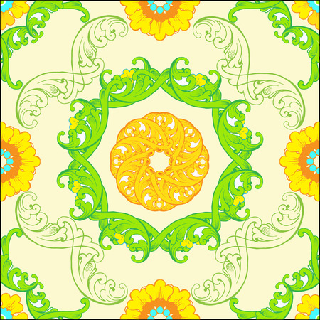 Vector seamless pattern with floral green ornaments. Ornate floral decor for wallpaper
