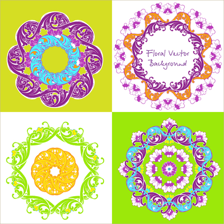 Ornamental round floral pattern. Set of four ornament. Vector illustration