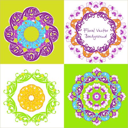 Ornamental round floral pattern. Set of four ornament. Vector illustration