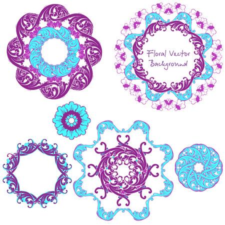 Ornamental round floral pattern. Set ornaments. Vector illustration