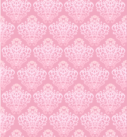 Pink vector seamless pattern with baroque elements