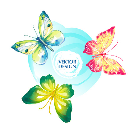 Butterfly watercolor. Vector illustration.