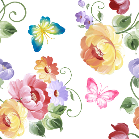 Seamless pattern of roses and butterflies. Watercolor painting. Vector illustration.