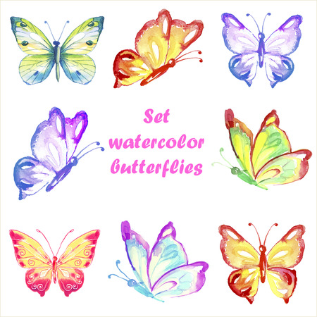 Set multicolored watercolor butterflies.