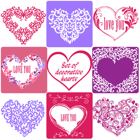 Multicolored set of greeting cards with hearts. Vector illustration.