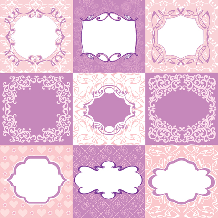 Collection pink frames, cards, patterns. Can be used for Birthday, Mother's Day, Wedding, Easter, scrapbook.