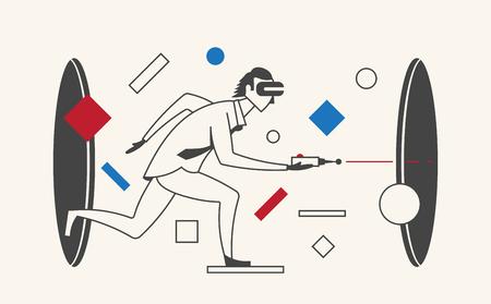 Virtual Reality Businessman. Man using portal and VR glasses 向量圖像