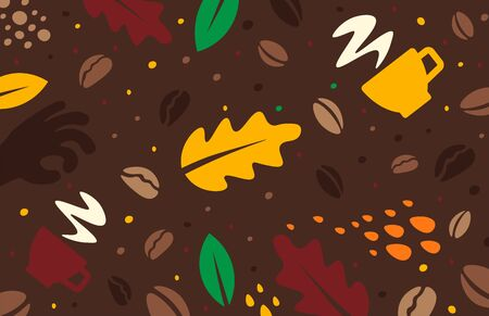 Coffee labels background. Doodle concept. 向量圖像