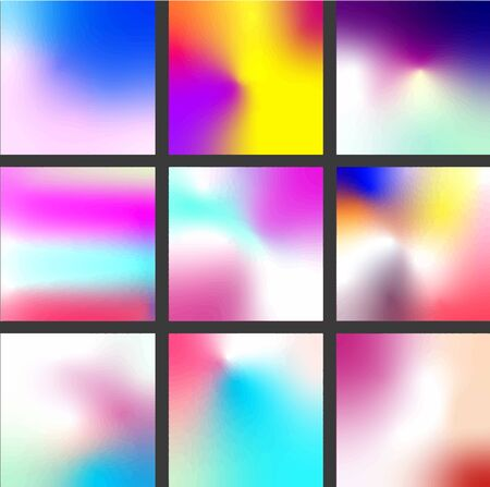 Gradient set. Modern abstract backgrounds. Holographic backgrounds for Flyer, Poster. Imagens - 128980782