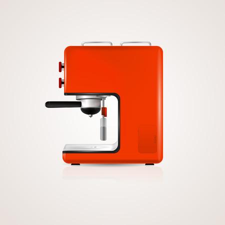 Illustration of red coffee machine illustration