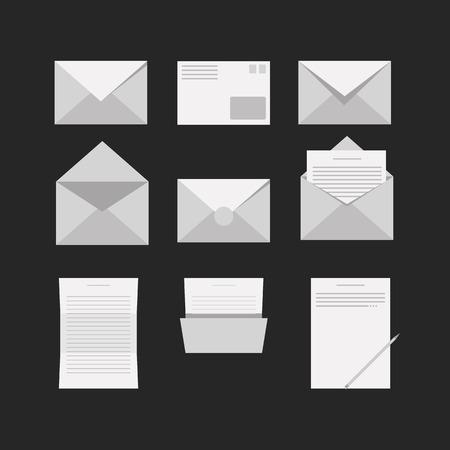 markka: White envelopes and letters on black background  Illustration