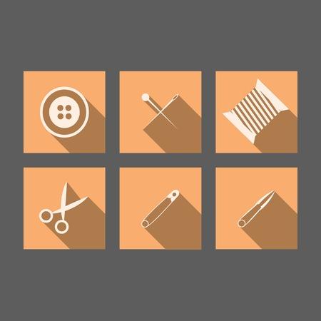 prickles: Appartamento icone rosse quadri per strumenti di cucito su grigio