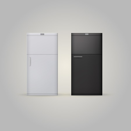 White and black fridges   Two illustrations on white  illustration