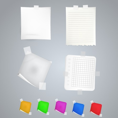glued: Five colored and four white blank sheets Stock Photo