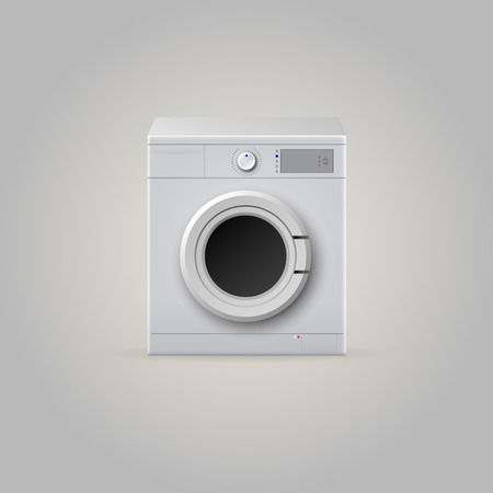 White washing machine with front door  Isolated illustration  illustration