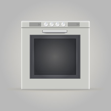 4 door: Gray square oven with four tumblers  Isolated illustration  Stock Photo