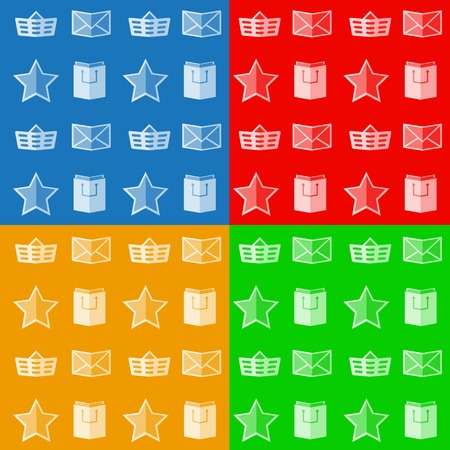 color backgrounds: Flat icons for shop on four color backgrounds