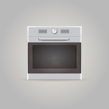 Gray oven with one tumbler  Isolated vector illustration  Vector