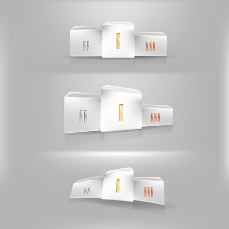 White winner s podium in three angles, with roman numerals on  Three illustrations  Vector