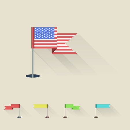 flagpoles: American and four colored pennants on flagpoles  Stock Photo