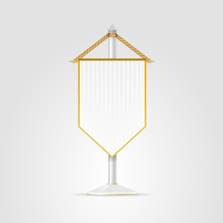 banderol: White pennons with stripes and golden elements  Isolated illustration on white