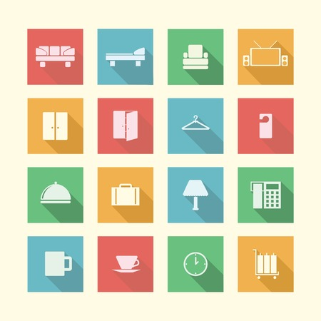recreation rooms: Square colored icons for hotel service on white