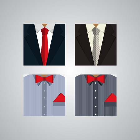 hanky: Four square icons for mens formal wear.