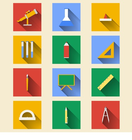 chancellery: Square colored icons for school on white background.