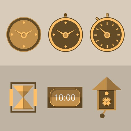 Six brown flat icons for different kinds of clocks  Vector