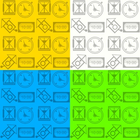 Pattern with different kinds of clock on four color backgrounds  Vector