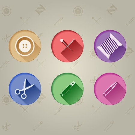 Flat circle icons in colour for sewing tools