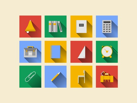 knapsack: Square colored icons for school on white background  Stock Photo