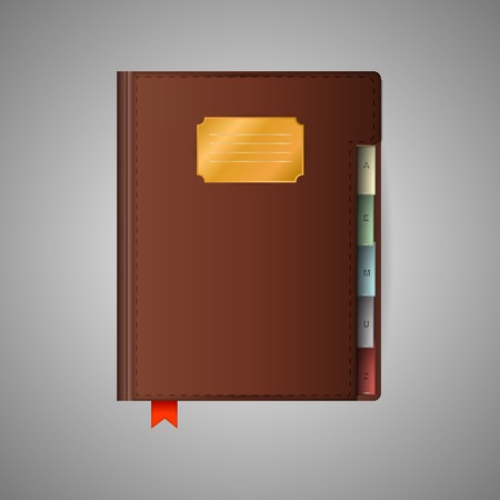 closed ribbon: Closed notebook with red ribbon bookmark and brown cover. Isolated illustration on gray.