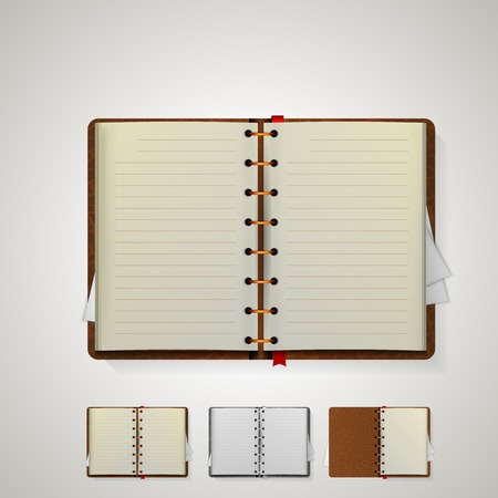 Four open notebooks with bookmarks and brown cover. Isolated illustrations on white. illustration