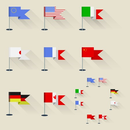 flagpoles: Set of flags of the world on flagpoles with shadow.