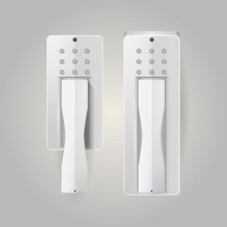 Two white intercoms with blue indicator light. Isolated vector illustration on white. Vector