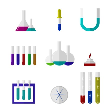 Chemistry laboratory ware with color liquid and color elements. Set of vector illustrations on white. Vector