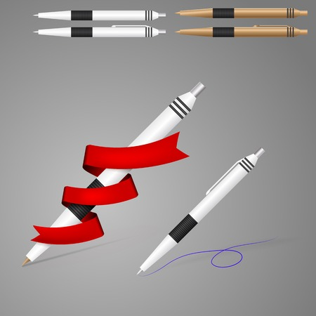 White and golden fountain pens with black stripes. Isolated vector illustrations on gray. Vector