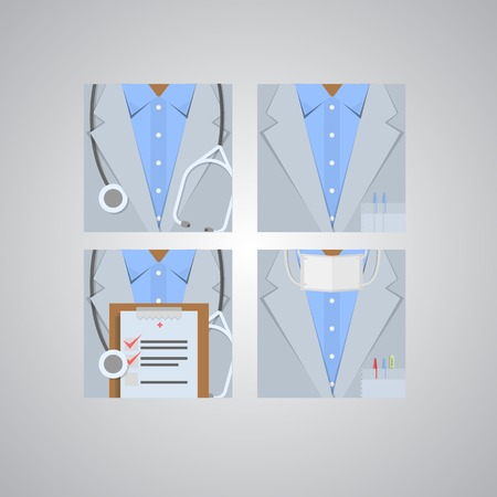 internist: Four square flat icons for doctor on gray.